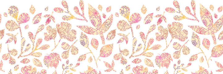 Raster Textured pastel Leaves Horizontal Seamless Pattern
