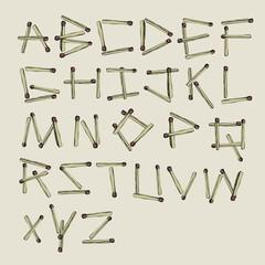 Matchsticks alphabet. Vector, EPS8
