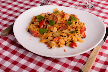 cajun jambalaya on white plate