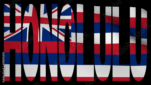 Honolulu text with fluttering flag animation