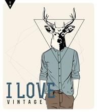 Weinlese-Hipster Fashion Deer Illustration
