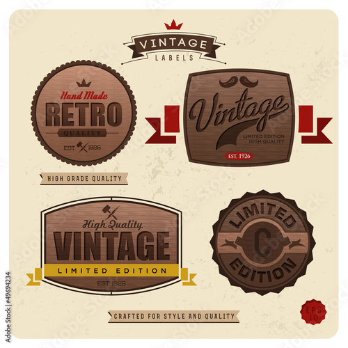 Vintage labels with woody pattern