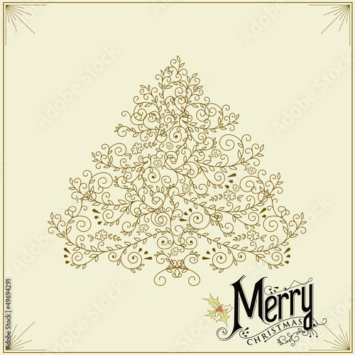 Vintage Christmas Card - with christmas tree Vector EPS10.