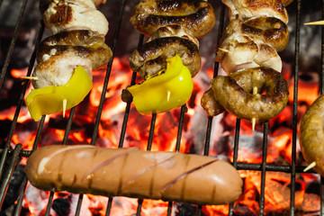 Skewers and sausage