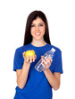 Teenager girl with a yellow apple and water