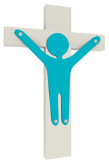 person  fasten with scews to  to the cross
