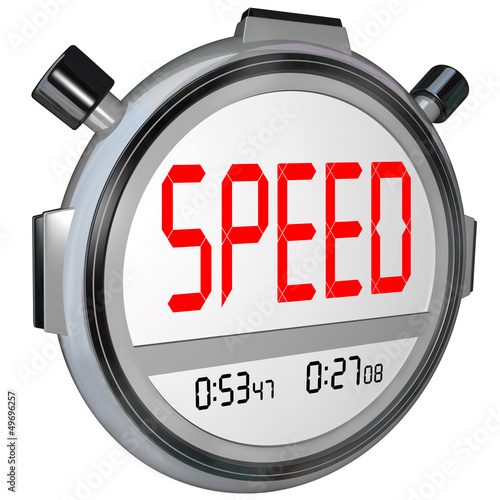 Speed Word on Stopwatch Timer Recording Race Result