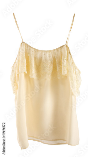 Nude lace silk nightgown