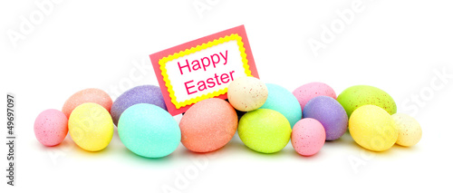 Horizontal border of colorful Easter eggs with Happy Easter tag