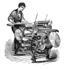 19th century engraving of a printing press