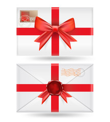 set of  envelopes with ribbons and wax seal