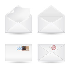 set of envelopes on white background