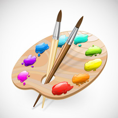 art palette wirh brushes and paints