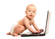 baby and a laptop computer isolated