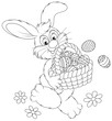 Easter Bunny carrying a basket of painted eggs
