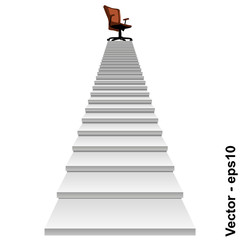 Vector conceptual stair with a chair on top