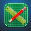 Cutting mats pencil and ruler icon