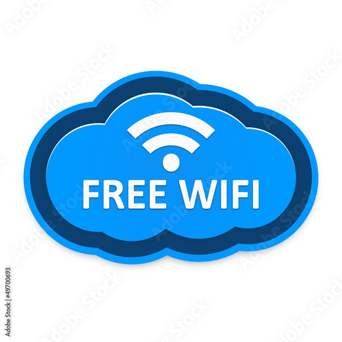 Blue Free Wifi Cloud Icon isolated on White Background