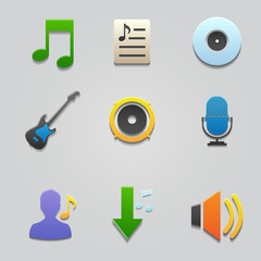 Icon music set color