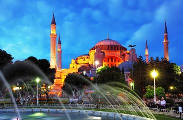 Istanbul mosque - Hagia Sophia at night