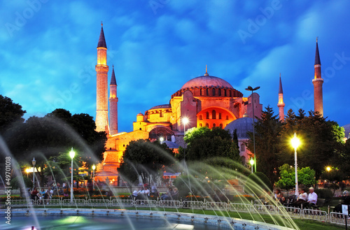 Istanbul mosque - Hagia Sophia at night