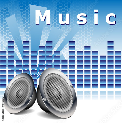 Blue music background with speakers