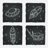 Set of cartoon space elements: rockets, spaceship and stars