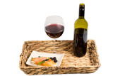 Salmon and wine on a tray poster