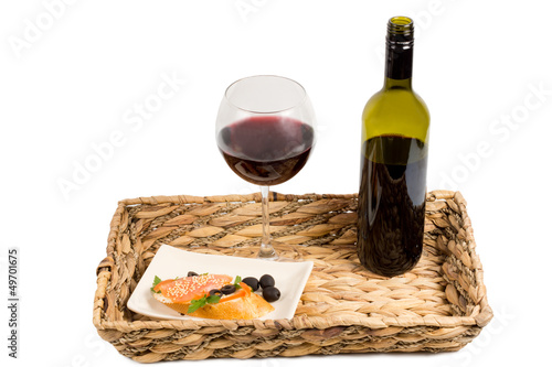 Salmon and wine on a tray