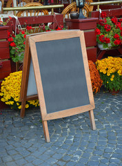 Blackboard with offerings of a restaurant - place in the text