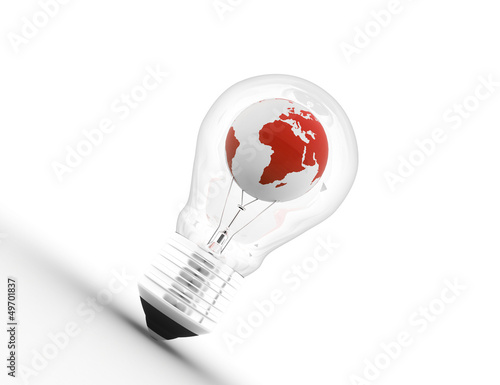 electric light bulb with a world globe. Conceptual illustration