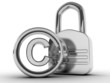 copyright sign with padlock on a white background