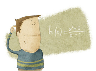 Boy looking at math problem