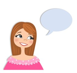 Girl in conversation. Cartoon character