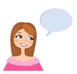 Girl in conversation. Cartoon character