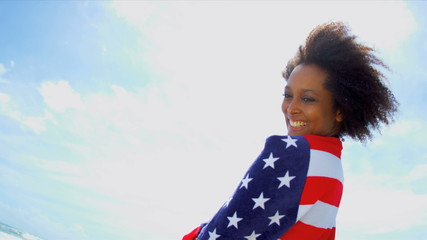 Laughing African American Girl American Flag
