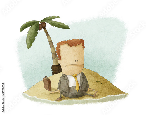businessman castaway on island