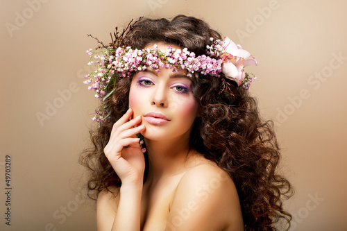 Complexion. Classy Young Woman with Curly Hairdo - Blush Face