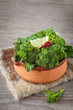 Assortment of frech turnip tops on a ceramic pot