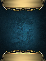 Blue rich texture with golden edges and gold trim
