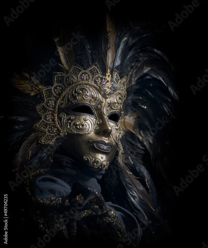 luxurious venetian mask isolated on black - 49704235