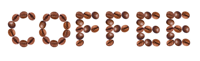 lettering from the coffee beans isolated on white