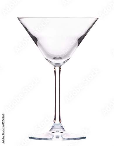 Empty cocktail glass on white