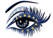 European Union Flag in female eye