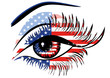 Flags of the USA in beautiful female eye