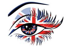 Flaga Wielkiej Brytanii w pięknych kobiet oka