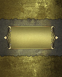 Grunge rift Gold Texture and gold nameplate with gold trim poster