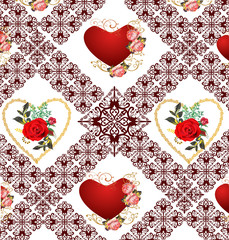 red roses and hearts in decorated background