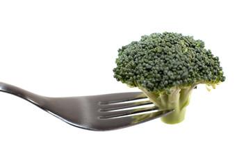 brocoli bio sur une fourchette