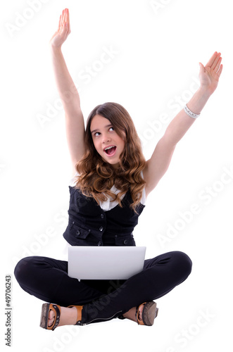Teen happiness with notebook